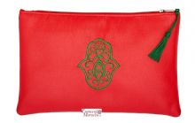 "Moroccan Pouch Clutch Bag with Hamsa Design Handmade Red Large 28 cm x 18 cm / 11"" x 7.4"""